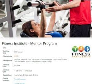 Fitness IInstitute Mentor Program