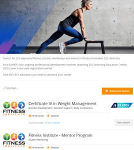 Fitness Institute's CEC programs
